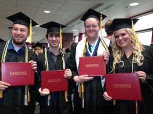 Graduation! Chaz Graves, Ben Legel, Chris Foster, Mara Holloway