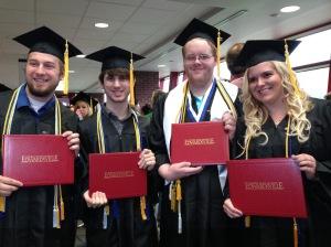 Graduation! Chaz Graves, Ben Legel, Chris Foster, Mara Holloway