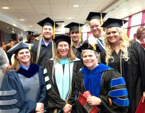 Graduation! Dr. Sue Wiediger, Charles Graves, Dr. Jessica Krim, Ben Legel, Dr. Kelly Barry, Chris Foster, Mara Holloway