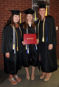 Graduation! Amanda Hyett, Courtney Thomas, and Jenna Kunde